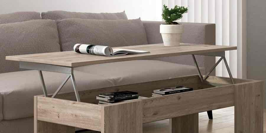 Mesas de centro baratas, mesas de centro elevables wengue, mesas de centro elevables con puff