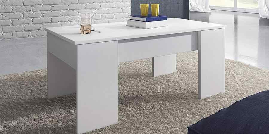 Mesa de centro elevable blanco brillo