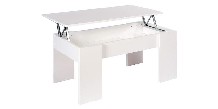 Mesa de centro elevable de melamina y blanca brillante