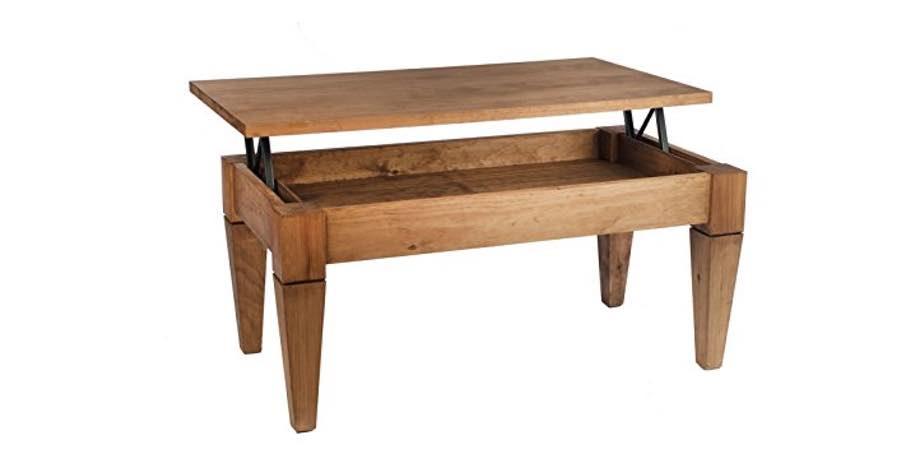 mesa centro elevable de estilo rustico y roble