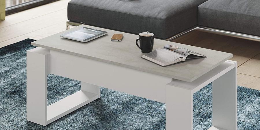 mesa centro elevable Blanco Artik y cemento de Habitdesign, mesa café elevable ikea, mesas auxiliares elevables ikea, mesa centro plegable ikea